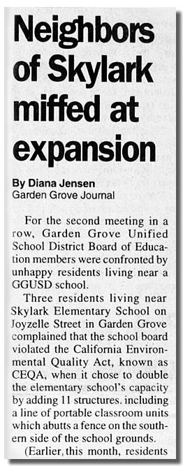 "Design Choice Communicaitons Portfolio: Newspaper article: ""Neighbors miffed at Skylark expansion"""